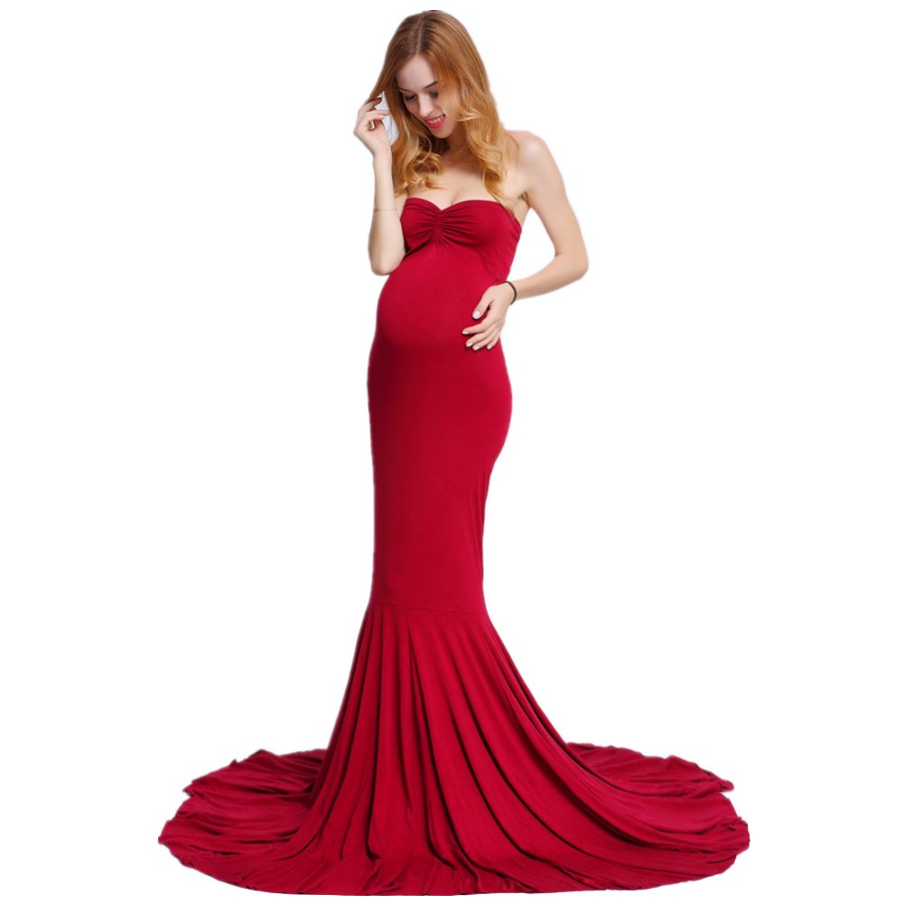 Women's Elegant Fitted Boob Tube on Top Maternity Photography Dress
