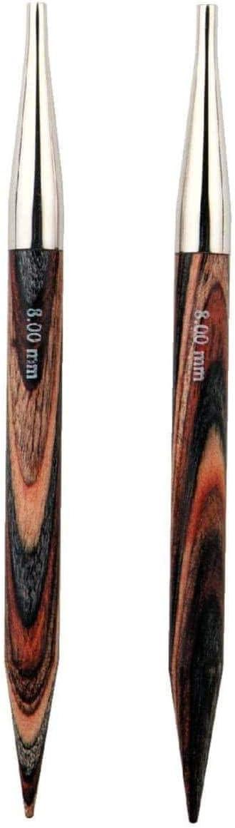 Prym 223351 Rundstricknadelspitzen NATURAL farbig kurz 8,7 cm 3,50 mm Rundstricknadel Holz 3,5 mm mehrfarbig
