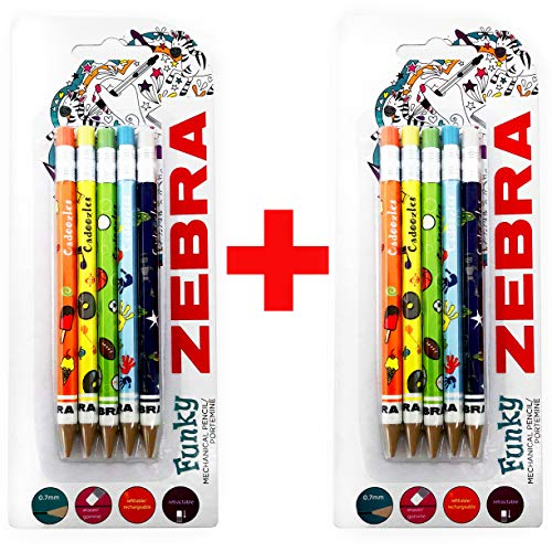 - Zebra Funky Cadoozles Mechanical Pencils - 0.7mm Lead - 2 x Pack of 5 Assorted Coloured Barrels