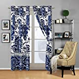 Mk Collection 2 Panel Curtain Set Floral White Navy Blue Over Size New #186