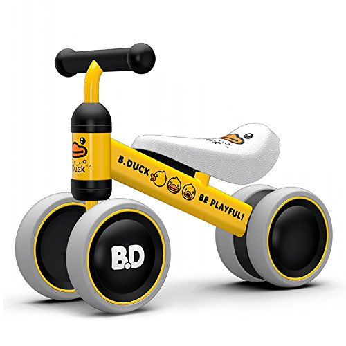 Trike Toy (XJD Baby Balance Bike Bicycle Baby Walker Toys 1 Year Old Toddler Trike Ages 10 to 24 Months Child No Foot Pedal Four Wheels Infant First Bike Birthday Gift Indoor Outdoor (Yellow Duck))