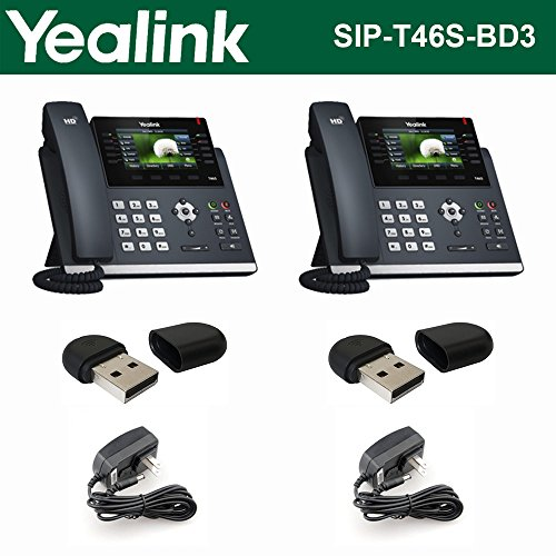 Executive High Speed Usb - Yealink SIP-T46S 2PACK IP Phone 16Line +2PACK Wi-Fi USB WF40 +2PACK Power Supply