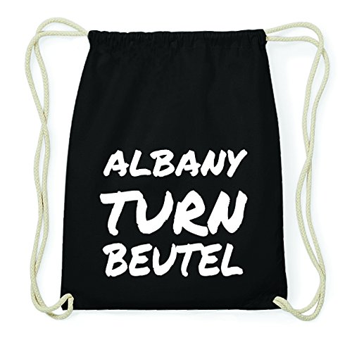 JOllify ALBANY Hipster Turnbeutel Tasche Rucksack aus Baumwolle - Farbe: schwarz Design: Turnbeutel