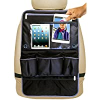 Car Seat Organizer - Premium Kick Mat, Back Seat Protector with Touch Screen Tablet Holder for Kids