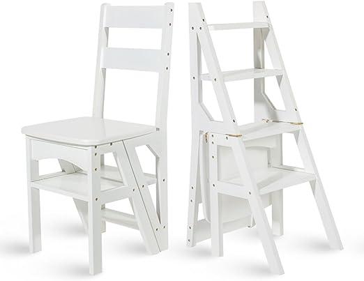 Muebles Modernos CAICOLORFUL Silla de Madera Plegable Biblioteca Plegable Escalera de la Silla Uso de la Oficina de la Cocina (Color : Blanco): Amazon.es: Hogar