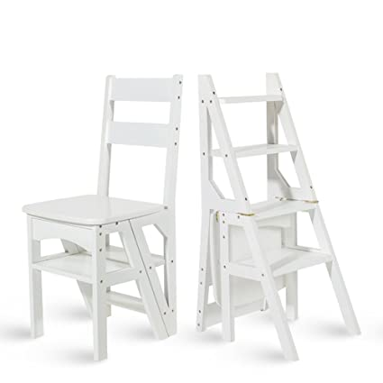 Beau Chairs MEIDUO Wood Folding Ladder Fold Up Library Steps Ladder Kitchen  Office Use (Color :