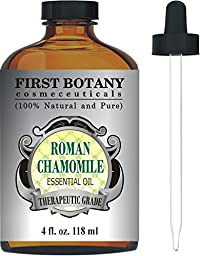 Roman Chamomile Essential Oil with a Glass Dropper - Large 4 fl. oz. - 100% Pure & Natural Undiluted Therapeutic Grade & Best Premium Quality Oil