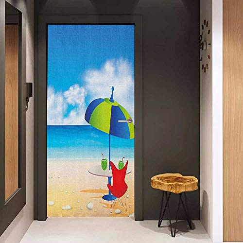 Onefzc Automatic Door Sticker Beach Relaxing Scene with Umbrella and Drinks Open Skyline Holiday Destination Summer Time Easy-to-Clean, Durable W17.1 x H78.7 Multicolor