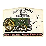 Open Road Brands- John Deere Vintage Embossed Retro Metal Clock For Sale
