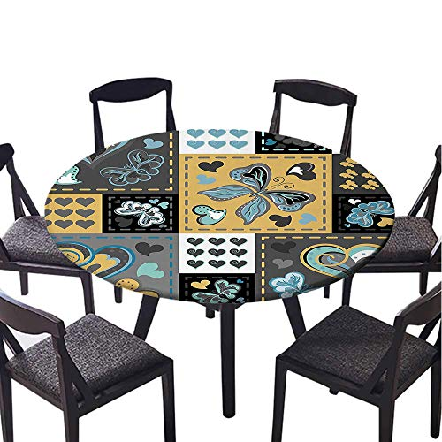 SATVSHOP Decorative Print Polyester Round Tablecloth-35 Round-Waterproof Fabric,Farmhouse Dark Textured Vintage Ornament Heart and Butterfly Motif in Mix etro Dign Grey Gold.(Elastic Edge)