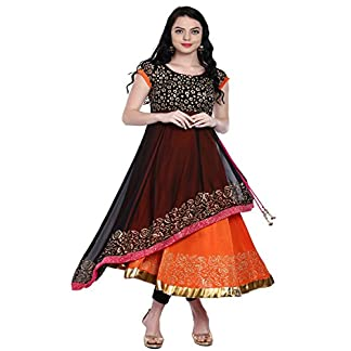 Ira Soleil Women's Poly Chiffon and Polyester Stretch Knit Long Anarkali Kurta 51bTFmIDq6L