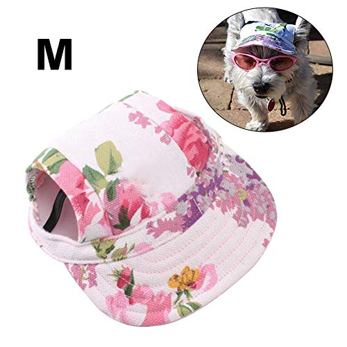 (Pet Dog Hat Dog Baseball Cap, Pet Cap Adjustable Outdoor Sport Dog Hat Visor Sun Protection Sunbonnet Summer Dog Casual Cap Outfit with Ear Holes for Puppy Small Dog Cat, Medium Size, Floral Print)