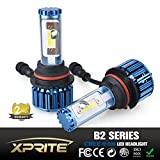 Xprite B2 Series CREE COB LED Headlight Conversion Kit with 6000K White, 8000K Blue Sleeves - 120W 10000lm - 9007 HB5