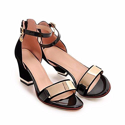 femenino los sandalias tacón tamaño tipo verano sandalias alto alto americana de El tacón sandalias black y de zapatos word gran europea de R5dwHq