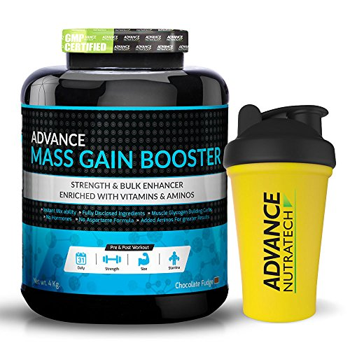 Advance Nutratech Mass Gain Booster 8 Lbs Chocolate Mass Gainer + shaker