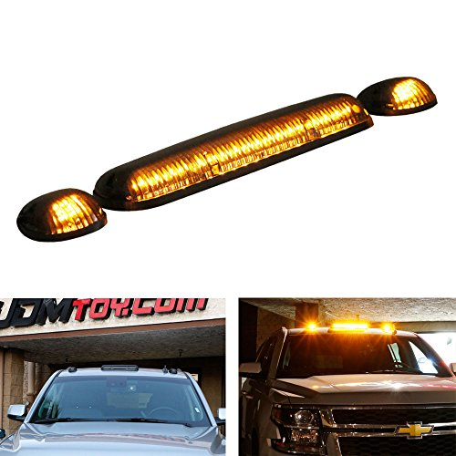 iJDMTOY 3pc-Set Black Smoked Cab Roof Top Marker Running Lamps w/Amber LED Lights For Truck Pickup 4x4 SUV