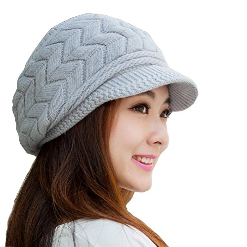 HINDAWI Winter Hats for Women Girls Warm Wool Knit Winter Hat Snow Ski Skull Cap with Visor Grey