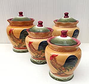 tuscan style kitchen canister sets tuscan county rooster painted 26070