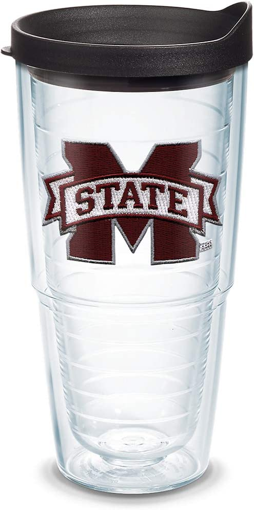 Tervis 1058457 Mississippi State Bulldogs Logo Tumbler with Emblem and Black Lid 24oz, Clear