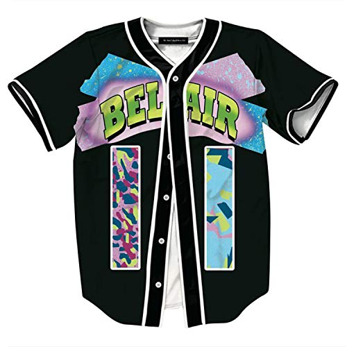 HOP FASHION Youth Mens Women Boys Girl Kids Baseball Jersey Short Sleeve Button Down Shirts 90s Theme Party 3D Number 11 Colorful Print Baseketball Dance Team Uniform Tees HOPM007-133-XXL