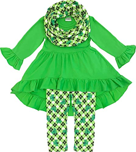 Amor Bee Little Girls St. Patrick's Day Outfit Sets - Shamrock Lucky Clover 3 Piece Top, Pants & Scarf