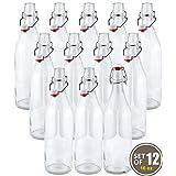 Estilo Swing parte superior botellas de cerveza de vidrio transparente, redondas, 16 onzas, juego de 12