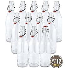 Estilo EST2654 Swing Top Easy Cap Glass Beer Bottles, Round, 16 oz, Set of 12, Clear