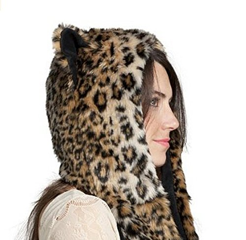 Adult Women Party Wear Full Animal Hood Hat Mitten Scarf Faux Fur with Paws  (Leopard a9729a875aa4