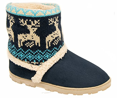 Boot Warm Slippers Womens Blue Navy Divaz Lined 0xdnCqwR