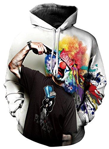 AMOMA Unisex Realistic 3d Digital Print Pullover Hoodie Hooded Sweatshirt (Large/X-Large, doodle)