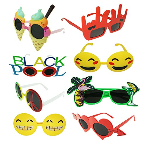 JOYIN Pact of 8 Fanci-Frame Kids Party Neon Sunglasses Perfect Party Favor Glasses Toy