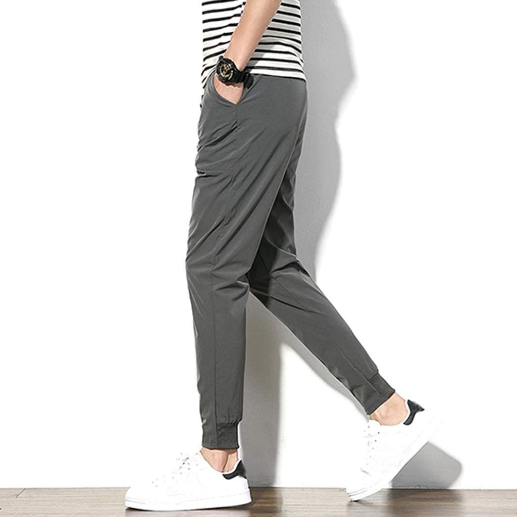 Sports Pants Gym Cargo Beach Shorts Mens Fashion Summer Casual Solid Pocket Drawstring Cotton Long Pants Trouser