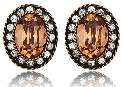 Dazzling Oval-Shaped with Topaz-Colored Rhinestone Post Earrings [Swarovski Element Crystals] (Colored Rhinestone Costume Jewelry)