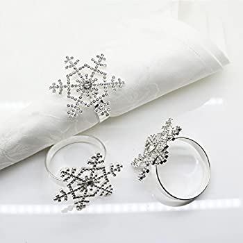 Snowflake Napkin Rings Set of 12 for Christmas, Holidays, Dinners, Parties, Everyday Use, Silver (Silver Rhinestone)