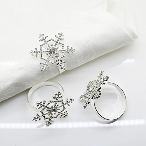 Snowflake Napkin Rings Set of 12 Christmas, Holidays, Dinners, Parties, Everyday Use, Silver (Silver Rhinestone) by Elehere (Image #3)