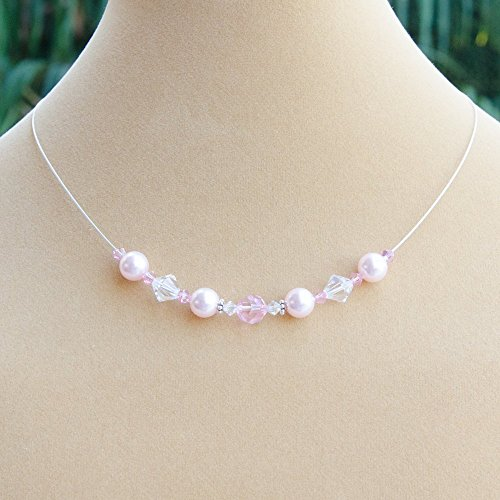Pink Pearlescent Floating Necklace with Swarovski Crystals, Simulated Pearls and Sterling (Sterling Crystal Twenty Light)