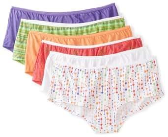 Fruit of the Loom Women's Boyshort Panties, Assorted, 5(Pack of 6)