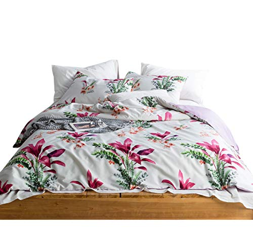 SUSYBAO 3 Pieces Duvet Cover Set 100% Egyptian Cotton Sateen King Floral Print Bedding with Zipper Ties 1 Reversible Duvet Cover 2 Pillowcases Luxury Quality Silky Soft Comfortable Durable Easy Care ()