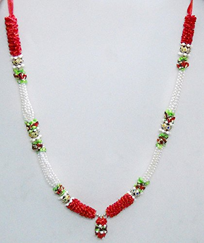 Red & White Satin Ribbon Artificial Floral Garland Haar HIndu God Mala India