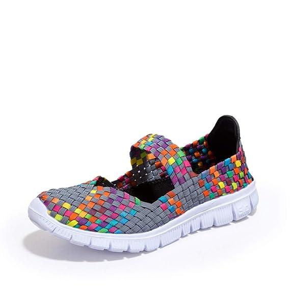 Chanclas Mujer, YiYLunneo Calzado Deportivo Casual para Mujer Tejido De Moda Zapatillas Zapatos Planos Transpirables Zapatillas Chancletas: Amazon.es: Ropa ...