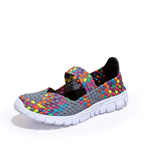 ... Cordones Tejiendo, Antideslizantes Calzado Gimnasia Ligero Sneakers 2018 Primavera Verano Loafers Casuales Transpirables Zapatillas de Estar por Casa: ...