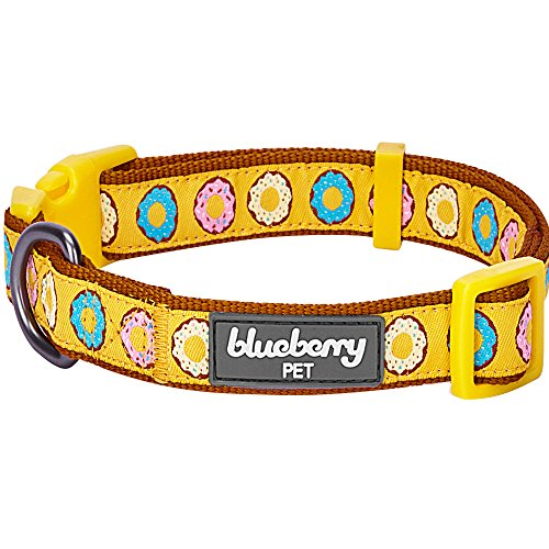 Charming Party Collar - Blueberry Pet 8 Patterns Summer Party Ideas Sweet Frosted Donut Charming Charisma Designer Dog Collar, Small, Neck 12