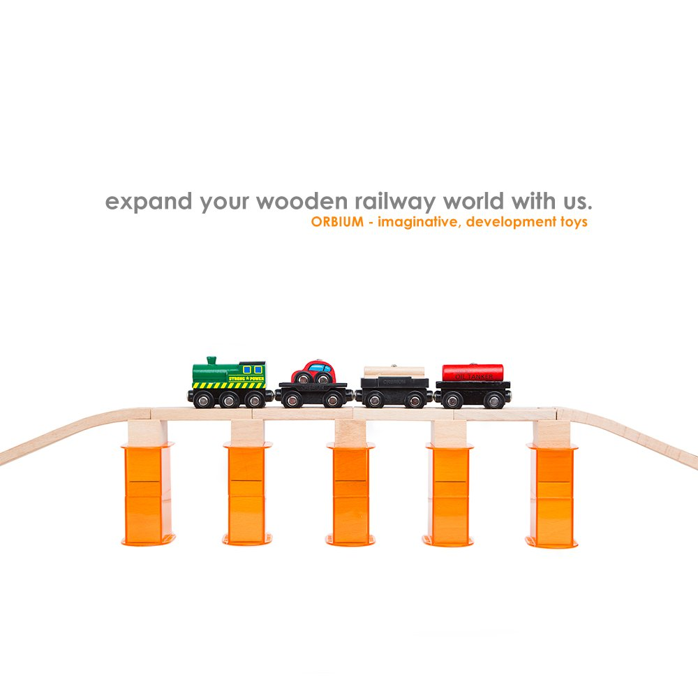 Orbrium Toys 110 PCs Multi-Level Wooden Train Track Expansion Pack with Stackable Track Riser Stabilizers Generic Fits Thomas Brio Chuggington Set