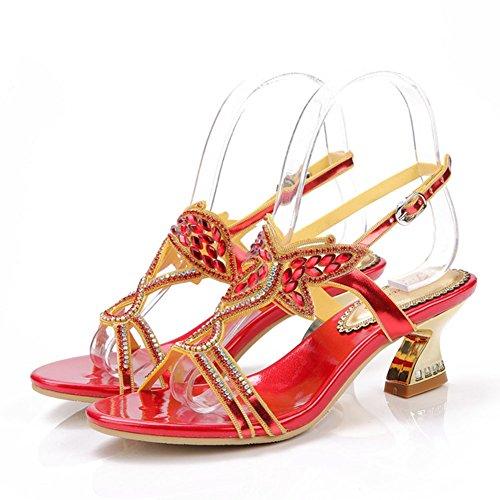 Sandales Mode de Strass épais Sandales Nouvelle Été dans Populaire avec Hauts Bow xie la Talons Les Diamant à PBTnqn0