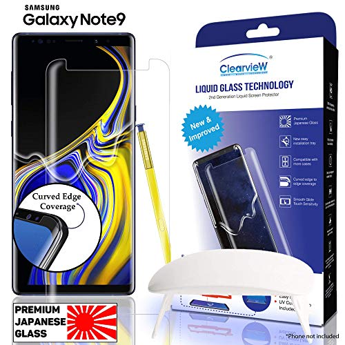Clearview Samsung Galaxy Note 9 Liquid Tempered Glass Screen Protector - 9H Ultra Clear HD Japanese Glass, Full Screen Edge Coverage, Easy Install, Loca UV Light, Case Friendly (Full Kit)