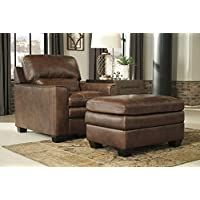 Gleason Contemporary Canyon Color 100% Leather Chair With Ottoman