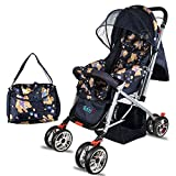 BabyGo Delight Reversible Baby Stroller and Pram with Mosquito Net Mama Diaper Bag and Wheel Breaks