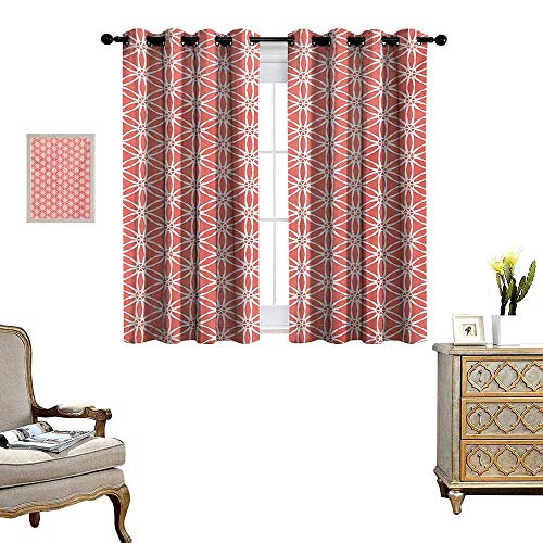 Elegant Bound Glass Lighting - Coral Patterned Drape for Glass Door Cool Simplistic Linear Sunflower Tied Bound Crochet Damask Floral Lace Tiles Motif Waterproof Window Curtain W72 x L45 Coral White