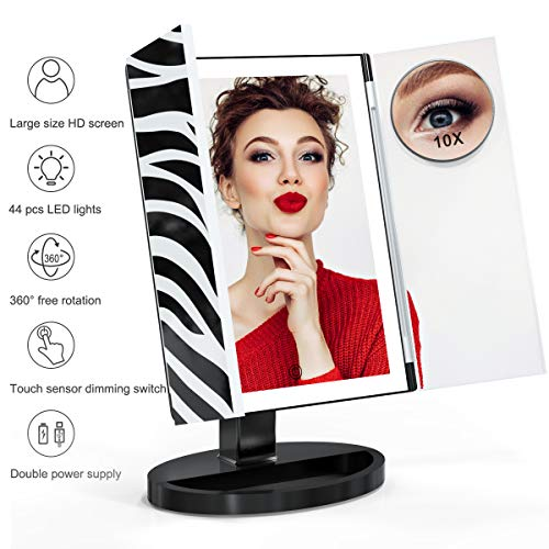 Cosmetic Base - Makeup Mirror, Glamfields 360° Vanity Mirror with 44 LED Lights, Large Trifold Lighted Makeup Mirror with Portable 10X Magnification Mirror,Detachable Base,Touch Screen Dimming (Black)