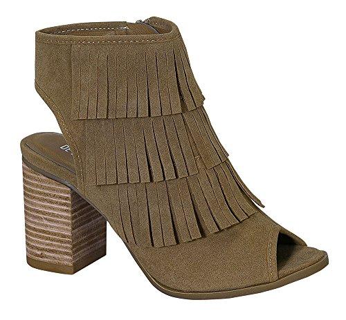 Ethleen-3 Women's Wood Chunky Peep-Toe Middle Heel Suede Ankle Bootie